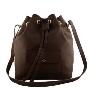 VICKY Bucket Bag Chocolate Brown Front