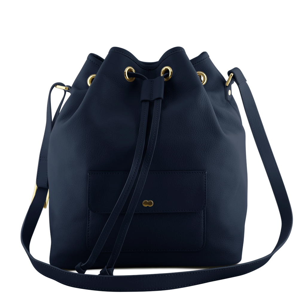 VICKY Bucket Bag Navy Blau Orange Front