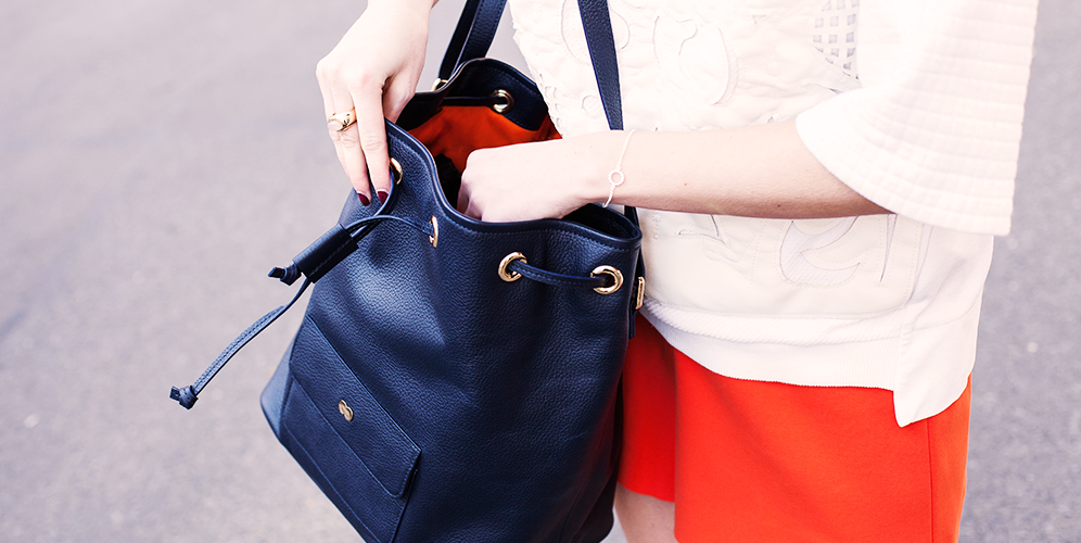 VICKY Bucket Bag Blau Orange Project OONA Berlin Handtasche Tasche Leder