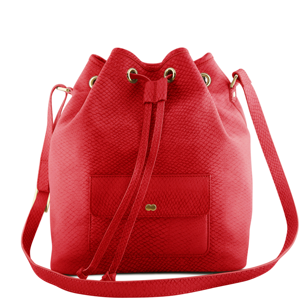 VICKY Bucket Bag Hot Red Nanaileder Bioleder Lachsleder Organic Luxury Made in Germany Bag Handtasche Tasche OONA