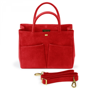 LETIZIA Tote Bag Hot Red Nanai Bioleder Lachsleder Rot Made in Germany Organic Luxury