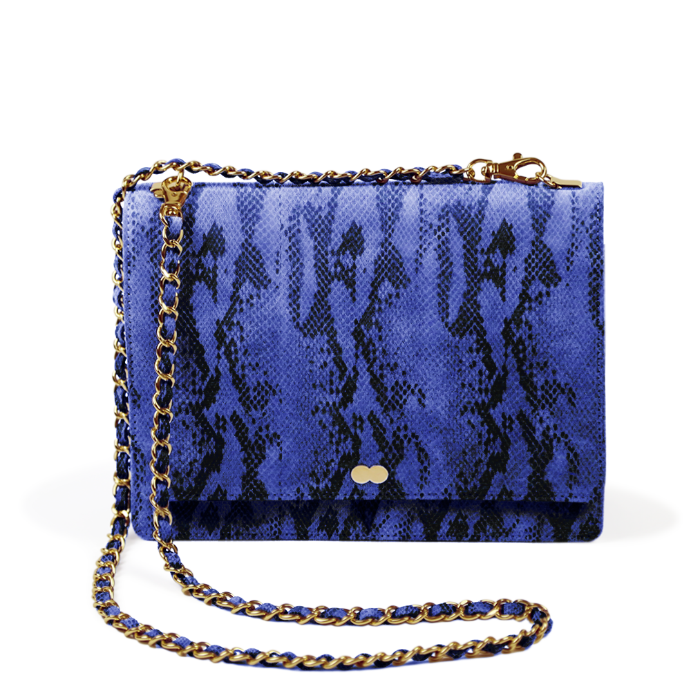AURELIE Luxury Snake Print - Royal Blue Blau Schlangenoptik Handtasche Tasche Luxus Luxustasche Project OONA Eco Friendly