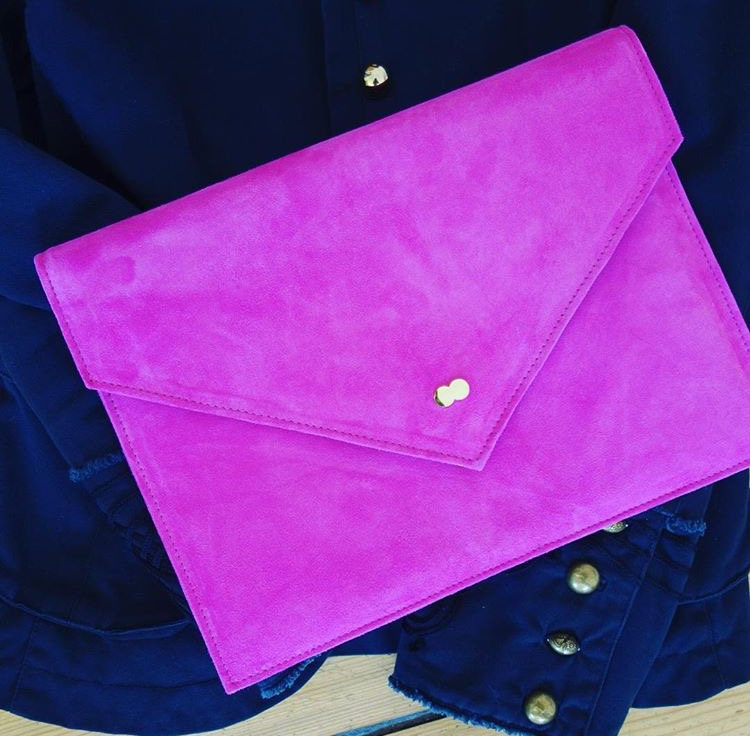 EMILIE Clutch Bag Fuchsia Pink Project OONA Handtasche Ledertasche Made in Germany Rosa