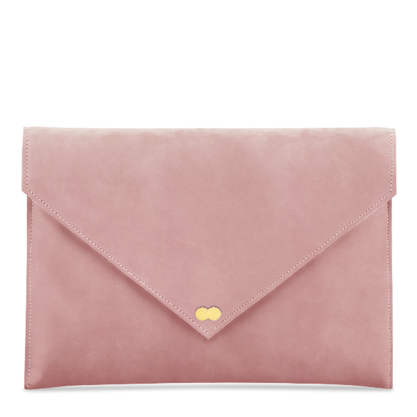 EMILIE Clutch Nubuk Apricot Rose Clutch Bag Wildleder Velours Leder Project OONA Tasche Handtasche