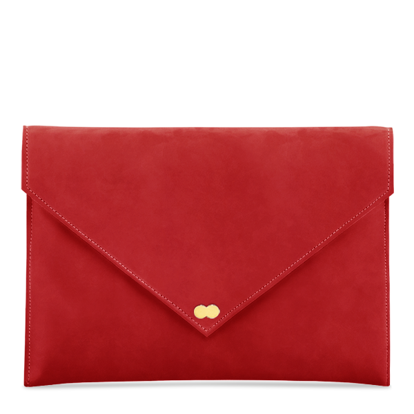 EMILIE Clutch Nubuk Fire Red Clutch Bag Rot Project OONA Wildleder Tasche Handtasche Berlin Velours Leder
