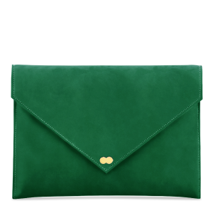 EMILIE Clutch Nubuk Real Green Grün Clutch Bag Handtasche Wildleder Tasche Velours Leder Project OONA Berlin