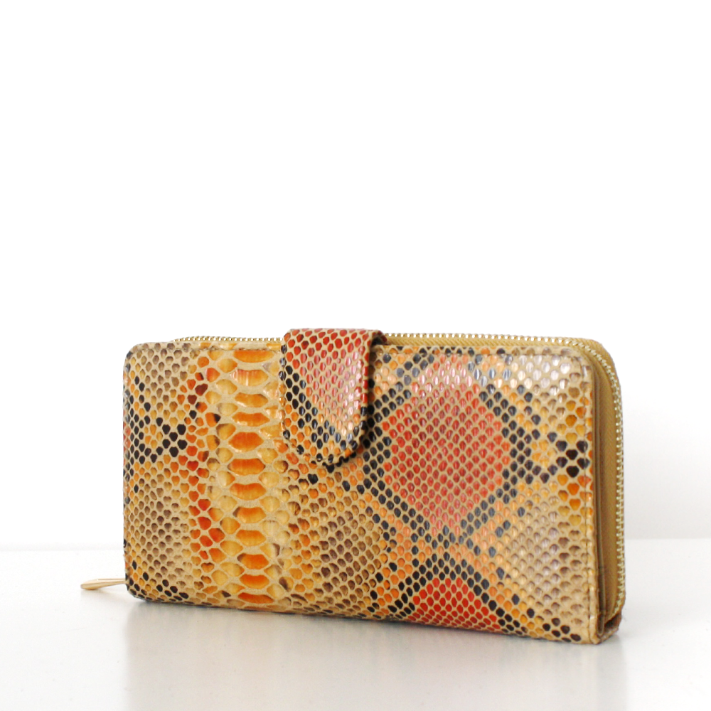 LAURA Wallet Snake Print with Flap Cognac Orange Project OONA Geldbörse Portemonnaie