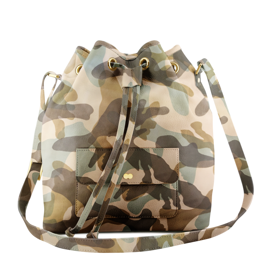 VICKY Camouflage Creme Green Handtasche Abendtasche Project OONA Ledertasche Ledermuster Made in Germany