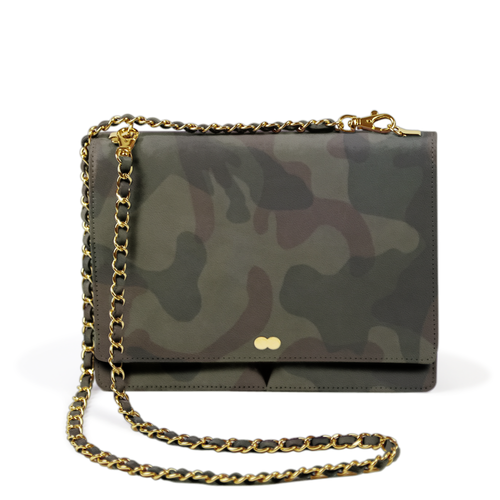 Abendtasche Camouflage Military Jungle Leder Nappa Project OONA AURELIE