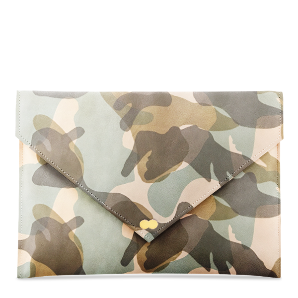 EMILIE Clutch Bag Limited Camouflage Creme Green Handtasche Clutch Ledertasche Project OONA