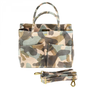 LETIZIA Camouflage Creme Green Handtasche Abendtasche Project OONA Ledertasche Ledermuster Made in Germany Project OONA Handtasche Businesstasche Ledertasche
