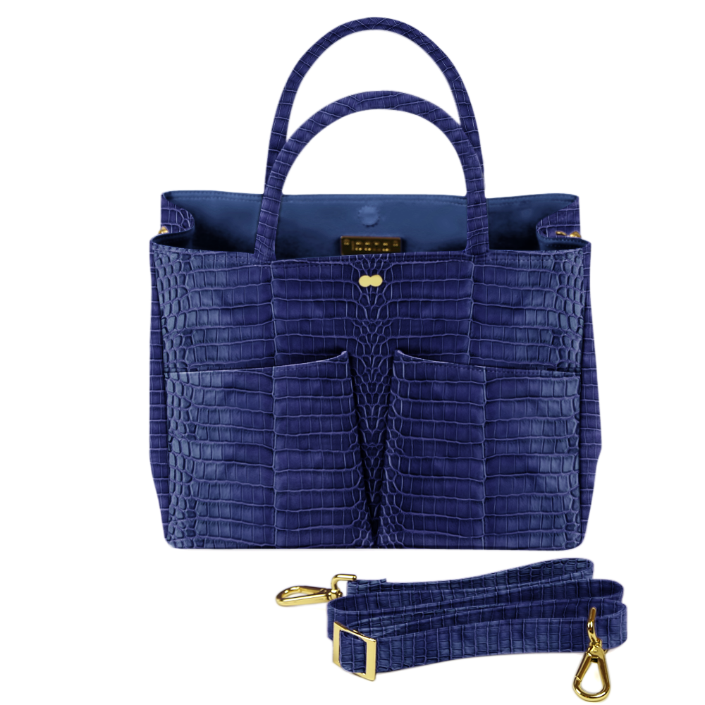 Business Tasche Kroko Blau LETIZIA Project OONA