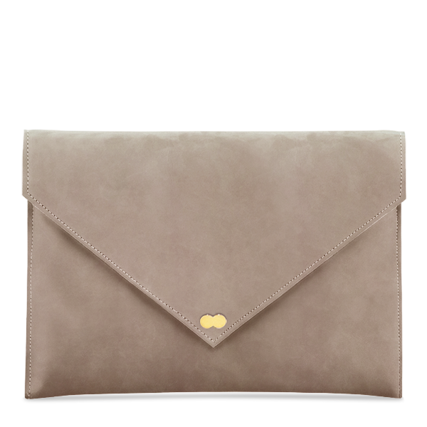 EMILIE Nubuk Taupe Clutch Bag Wildleder Velours Beige Project OONA