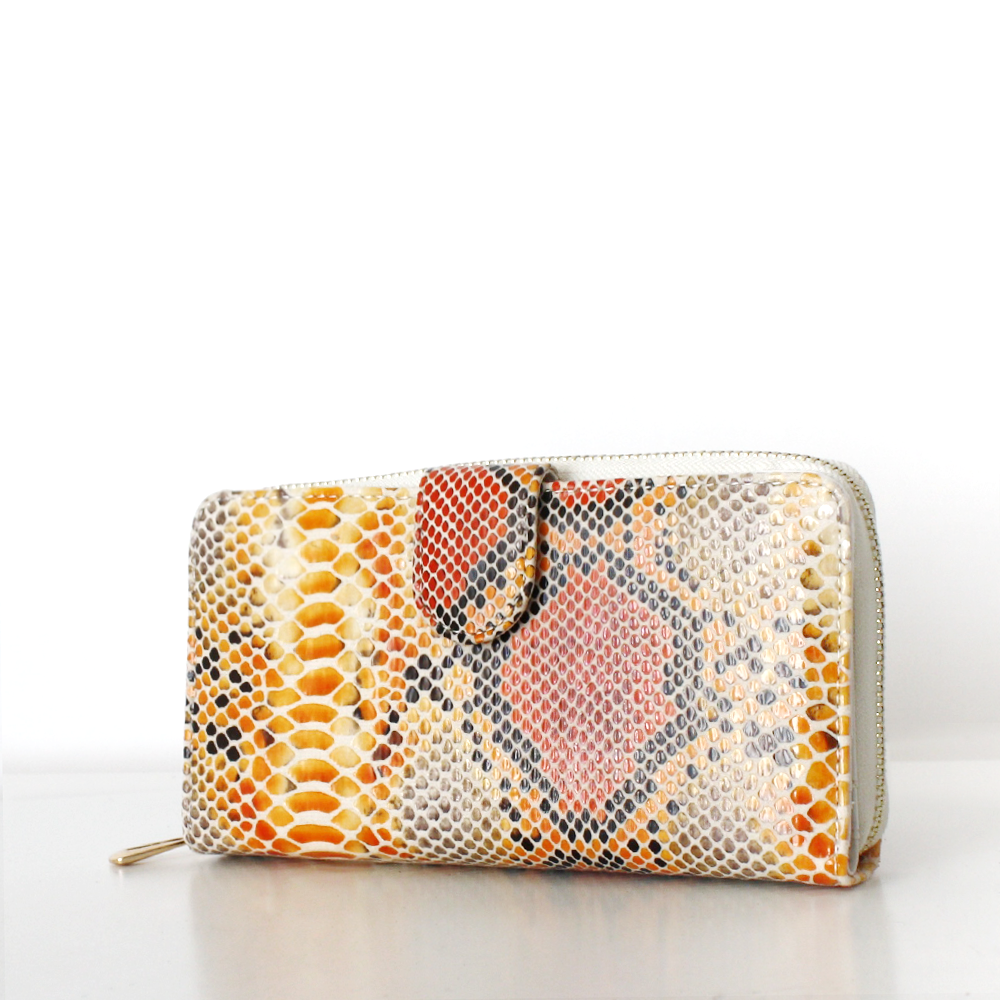 LAURA Wallet Snake Print with Flap Gelb Orange Creme Project OONA Geldbörse Portemonnaie